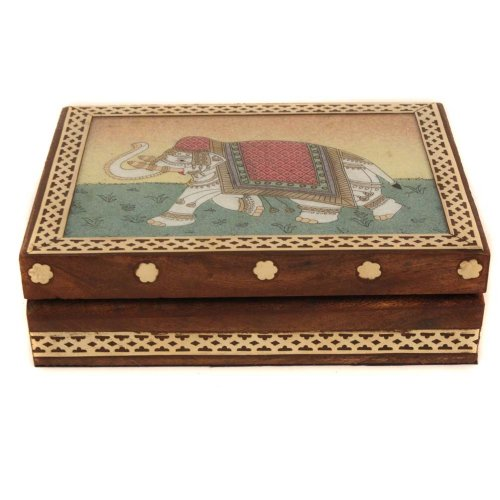 Handmade Sheesham Wood Box With Gem Stone Painting Of Elephant