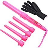 Ckeyin ® Ceramic Hair Curler Iron Hair Curling Tong Salon Professional Wave Curling Wand 5 In 1 Hair Styling Tool Kit