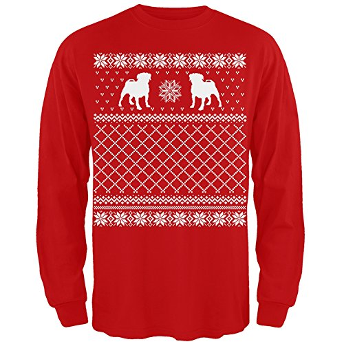 Pug Ugly Christmas Sweater Red Adult Long Sleeve Shirt - Medium