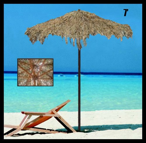 7 Foot Thatched Tiki Tropical Market Umbrella
