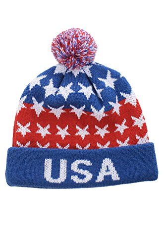 USA Beanie with Blue Cuff by Tipsy Elves - One Size