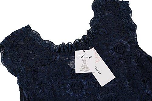 Acevog Women's Elegant Floral Sleeveless Lace Cocktail Evening Dress (Small, Blue)