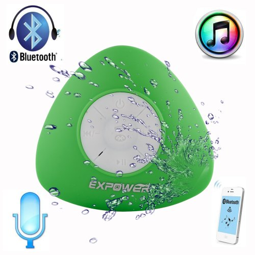 Expower The New Design Mini Ultra Portable Waterproof Bluetooth Wireless Stereo Speakers With Suction Cup For Showers, Bathroom, Pool, Boat, Car, Beach, Outdoor Etc. | For All Devices With Bluetooth Capability + Siri Compatible - 6 Hours Playtime / With B