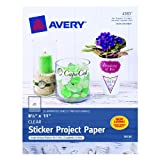 Avery Sticker Project Paper, 8.5 x 11 Inches, Clear, Pack of 10 (04383)