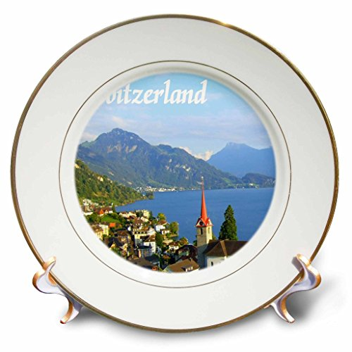 3dRose cp_155661_1 Switzerland Tourist Travel Souvenir Swiss Landscape Photo of Pretty Lake Town Weggis Near Lucerne Porcelain Plate, 8-Inch
