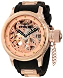 Invicta Russian Diver Men's Quartz Watch with Rose Gold Dial Chronograph Display and Black Rubber Strap 1244
