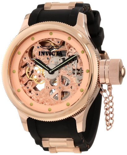 Invicta Men's 1244 Russian Diver Quinotaur Mechanical Rose Gold Tone Skeleton Dial Watch
