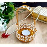 TiedRibbons Crystal T Light Holder (6.2 Inch X 3.5 Inch,Golden,Brass) With T-light Candle