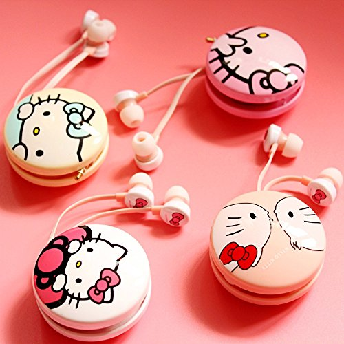 Headset in Stylish Design Cartoon Hello Kitty Series Headphone 3.5mm General Use In-ear Earphone
