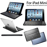 eLifeStore? iPad mini Ultra Slim Keyboard Cover Aluminium Bluetooth 3.0 Wireless Keyboard Cover Case Stand (Black)