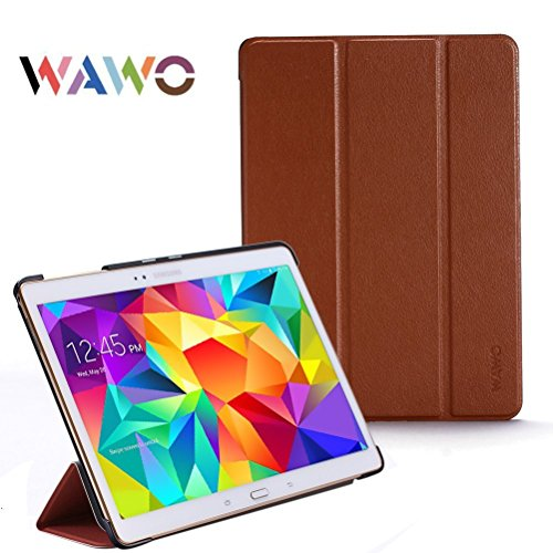 Wawo Creative Smart Tri-Fold Cover Case For Samsung Galaxy Tab S 10.5-Inch Tablet - Coffee front-1052103