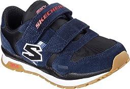 Skechers Boys\' Throwbax Sneaker,Navy/Black,US 1 M