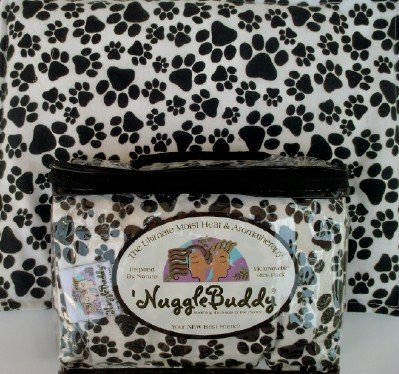 """'Nugglebuddy Pets Moist Heat & Aromatherapy Organic Rice Pack For Microwave. For Puppies Or Dog Lovers! Black & White Puppy Paw Fabric, Unscented . (Find Many Other 'Nugglebuddy Selections By Searching Nugglebuddy In Amazon'S """"All Departments"""" Category.)"""