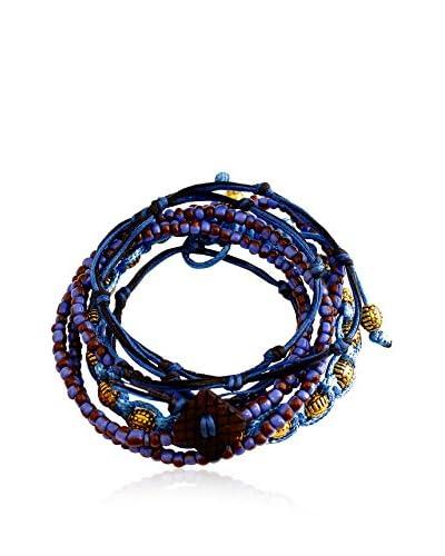 Rave by PerePaix Set of 3 Tribal Blue & Brown Bracelets