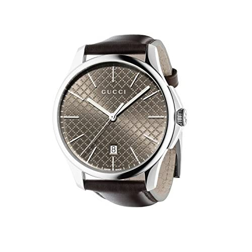 Gucci G-Timeless Slim Collection Men's Quartz Watch with Brown Dial Analogue Display and Brown Leather Strap YA126318