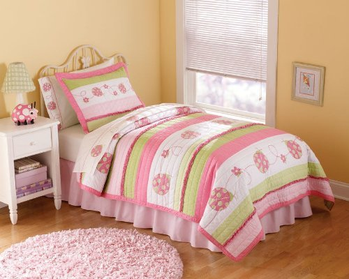Crazy Pink Ladybug Full Queen Quilt With 2 Shams front-979478