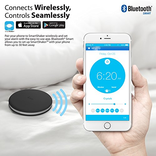 iLuv SmartShaker Wireless Smartphone-Controlled Bluetooth® Bed Alarm Shaker for iPhone® 6/6 Plus, 5s/5c/5, 4S; Samsung GALAXY S®5, S4, S3, Note® 4, Note 3 and other Smartphones-Black