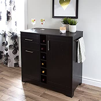 South Shore 9043770 Bar Cabinet with Bottle and Glass Storage, Black Oak