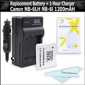 Replacement Battery For Canon NB-6LH NB-6L 1200MAH Each + 1 Hour Charger For Canon Powershot SX280 HS, SX280HS, SX500 IS, D10, D20, D30, IXUS 85 IS, XUS 95 IS, IXUS 200 IS, SX260 HS, SX600 HS, SX610 HS, SX710 HS, SX530 HS Digital Camera + More