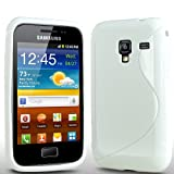 ONX3 Samsung Galaxy Ace Plus S7500 S Line Solid White Wave Gel Case Skin Cover