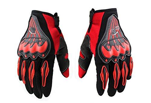 Rain G Pro-Biker Bicycle Motorcycle Motorbike Powersports Racing Gloves (M, Red)
