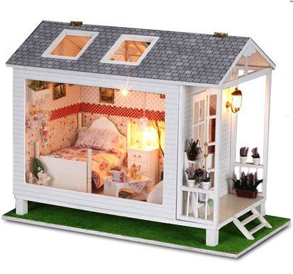 Big Dollhouse Miniature Diy Wood Frame Kit With Light Model Sweet Promise Gift Ldollhouse105-D89