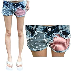 GT-Dress Fashion star Striped Jeans USA Flag Classical Summer Denim shorts hot pants by GT Dress
