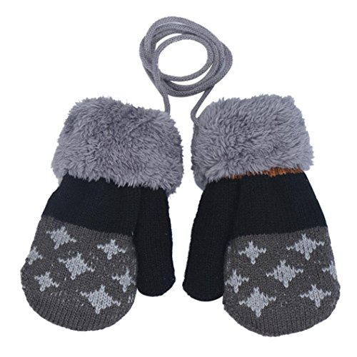 FAPIZI Baby Boy Leaf Girl Keep Warm Glove (Dark Grey)