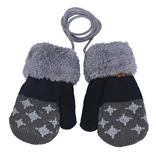 FAPIZI Baby Boy Leaf Girl Keep Warm Glove (Dark Grey)