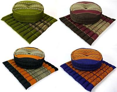 Yogaset bzw. Meditationsset: 1 x Zafukissen (Yogakissen) + 1 x Sitzkissen (Meditationskissen) mit Kapokfüllung