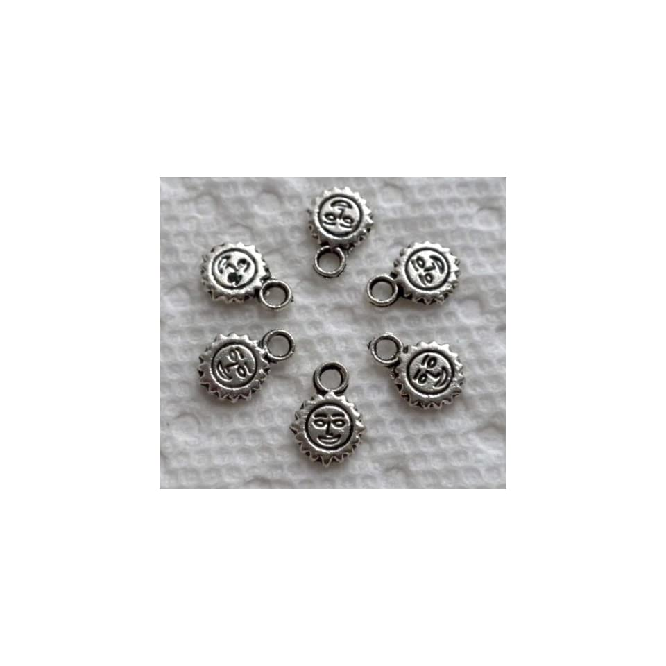 30pcs Tibetan Silver Smile Sun Face Charm Drops 8mm ~Jewelry