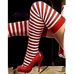 Red & White Stripe Thigh High by Music Legs