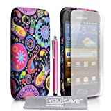 Samsung Galaxy S Advance i9070 Accessory Pack Black / Multicoloured Jellyfish Pattern Silicone Gel Case With Stylus Pen Screen Protector Film And Grey Micro-Fibre Polishing Clothby Yousave Accessories