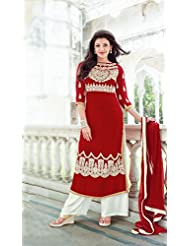 Fabfiza Red Georgette Embroidered Semi-Stitched Straight Suit