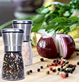 Salt and Pepper Grinder Set - Salt and Pepper Shakers - Pepper Mill - Salt Shaker - Elegant Brushed Stainless Steel- Fun Adjustable Coarseness- Pepper Grinder - Best Cook`s Friends Gift Set - Red Box