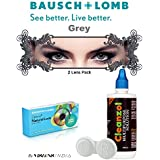 Natural Look Quarterly Grey Color Zeropower Colorered Contact Lens With Free Cleanzol Lens Care Kit (2 Lens Pack...