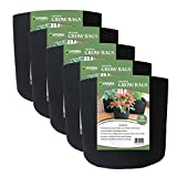 Grow Bags Fabric Planter Raised Bed Aeration Container 5 Pack Black (10 gallon)