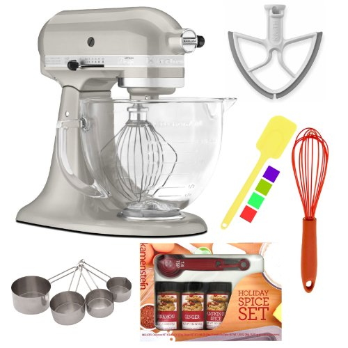 KitchenAid KSM155GBSR Artisan Design Tilt-Head Stand Mixer Sugar Pearl Silver with Beater Blade for KitchenAid 6-Quart + Silicone Whisk + Silicone Spatula + Heavy-Duty Stainless Measuring Cup Set and Kamenstein Mini Measuring Spoons Spice Set Promo Offer