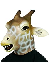 Star Power Giraffe Animal Head Mask Tan White One Size (Adult)