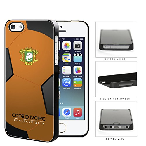 Cote D'Ivoire (Ivory Coast) World Cup 2014 Soccer Ball Hard Plastic Snap On Cell Phone Case Cover Iphone 5 5S