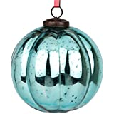 EarthenMetal Handcrafted Blue Coloured Christmas Decoratives / Glass Hanging Ball- 5 Inch