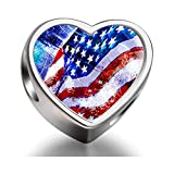 925 Sterling Silver Charms Beads Celebration of American Independence Day Heart Photo Charm Beads Fit Pandora Chamilia Biagi beads Charms Bracelet