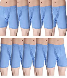 Alfa Stylo Men's Cotton Long Trunk/Drawer H-Back IE [95cm] - Pack of 10 (Assorted Color)