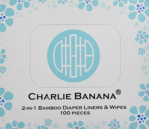 Charlie Banana 2-in-1 Diaper Liners and Wipes, Natural