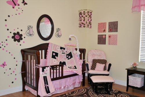 9pc Pink & Brown Crib Bedding Nursery Set