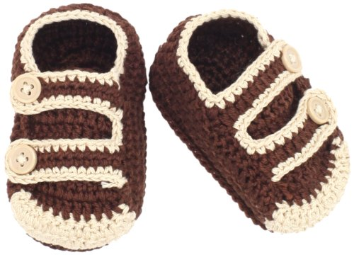 Jefferies Socks Baby-Boys Newborn Button Bootie, Brown, 1-3 Months