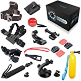 BEEWAY Sports Camera Accessory Bundle 13 in 1 Pack Accesorios Conjunto Kit For GoPro Go Pro Hero 1 2 3 3+ 4 Silver Black Edition Original Camera, Wifi SJCAM QUMOX SJ4000 Action Video Cámara Deportivas M10, Sunco DREAM 2 Sport Cam DV etc, includes : Chest Body Harness Adjustable Belt Strap + Elastic Adjustable Head Strap+ Extendable Handheld Telescopic Monopod Tripod Adapter+ Bike Motorcycle Handlebar Seatpost Mount+ Car Windshield Suction Cup Mount Stand Holder+ Floating Hand Grip Handle Mount +Curved and Flat Adhesive Mounts with 3M Sticker + Buckle Basic Mount with Screw + J-Hook Buckler+ Safety Tether+ Nylon Bag+ Plastic Spanner Wrench with Lanyard