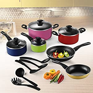 Cooksmark Style Code Multi Color With 4 pots, 4 lids, 5 Kitchen Utensils, 2 pans Oven Safe 15-Piece Pop Nonstick Cookware Set; Cool Touch Handles