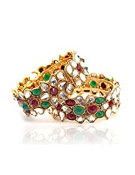 BeYou Gold Plated Polki Style Red Green Stones Bangles Set - B00NXVF0M6