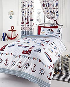 Nautical Single Duvet - Ships, Boats, Lighthouses and Anchors